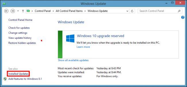 Control Panel Windows Updates