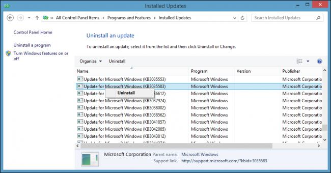 Installed Updates Remove KB3035583 Get Windows 10